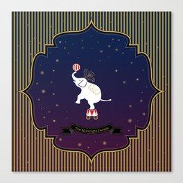 The Moonlight Parade-Elephant Canvas Print