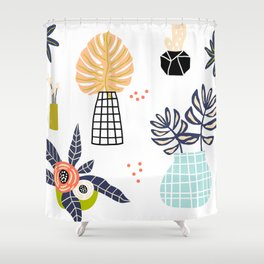 Mid-Century Modern Flowers and Leaves Print Shower Curtain