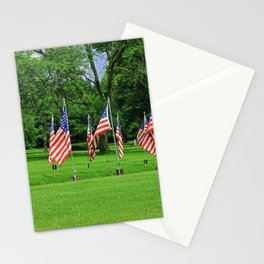 Flags Flying in Memoriam Stationery Cards