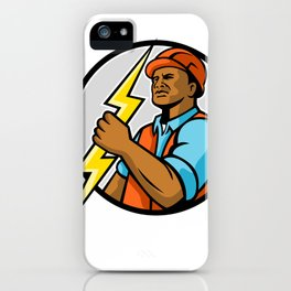 African American Electrician Lightning Bolt Mascot iPhone Case