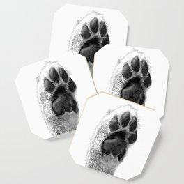 Black and White Dog Paw Coaster