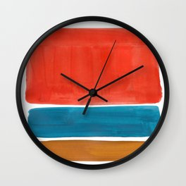 Minimalist Mid Century Modern Colorful Color Field Rothko Orange Teal Yellow Ochre Wall Clock