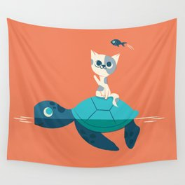 Cat on a Turtle Wall Tapestry