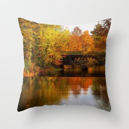 Massachusetts Covered Bridge in Autumn Throw Pillow