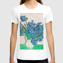 Irises by Vincent van Gogh Oil Painting Still Life Floral Arrangement In Vase T-shirt