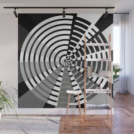 Nine Bar Grayscale Wheel Wall Mural