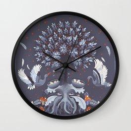 Purple nest tree Wall Clock