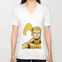 aquaman V-neck T-shirts featuring Aquaman by J. J.