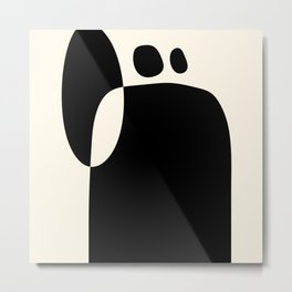 shapes black white minimal abstract art Metal Print