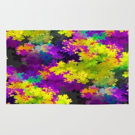 Floral Print Dress purple and yellow Rug