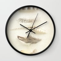 feather Wall Clocks featuring Feather by Pure Nature Photos