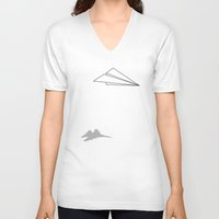 airplane V-neck T-shirts featuring Paper Airplane Dreams by Mobii