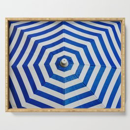 Blue Umbrella Pattern Serving Tray