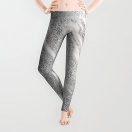 Marble - Silver Glitter on White Metallic Marble Pattern Leggings