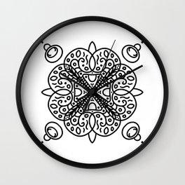 petal doodle - mandala - black and white pattern Wall Clock