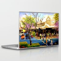 cafe Laptop & iPad Skins featuring Sidewalk Cafe by Helen Syron