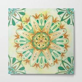 Simple Green/Yellow Mandala Metal Print
