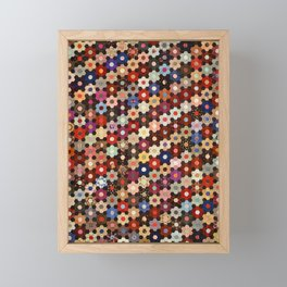 Vintage Hexagon Quilt Pattern Framed Mini Art Print