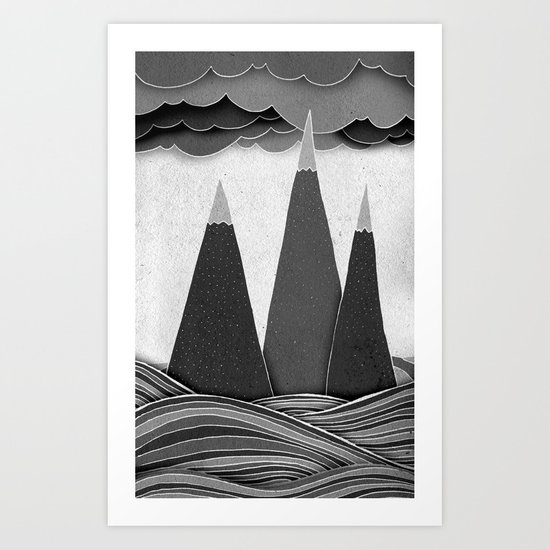 Clouds. Mountains. Water. (black and white) Art Print