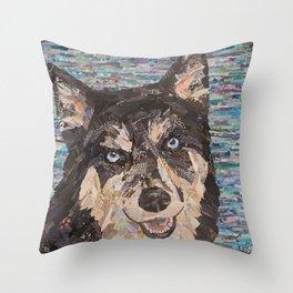 husky on blue background Throw Pillow
