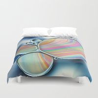 oil Duvet Covers featuring oil and water by Ingrid Beddoes