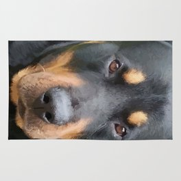 Beautiful Female Rottweiler Portrait Vector Rug