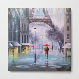 the first snow in Paris Metal Print
