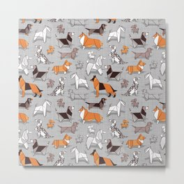 Origami doggie friends // grey linen texture background Metal Print