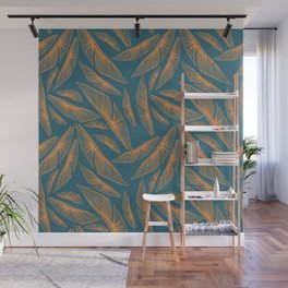 Feathered Leaf Pattern Wall Mural