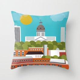 Columbia, South Carolina - Skyline Illustration by Loose Petals Throw Pillow