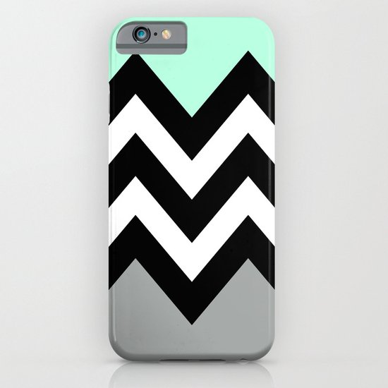 DOUBLE COLORBLOCK CHEVRON {MINT/BLACK/GRAY} iPhone & iPod Case