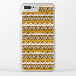 Ethnic african striped pattern with Adinkra simbols. Clear iPhone Case