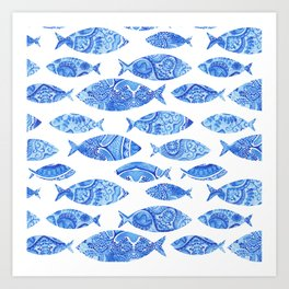 Folk watercolor fish pattern Art Print