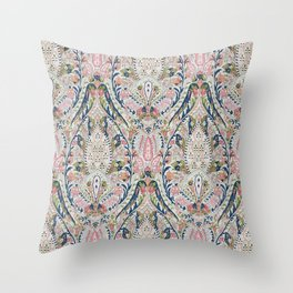 Pink Blue Green Leaf Flower Paisley Throw Pillow