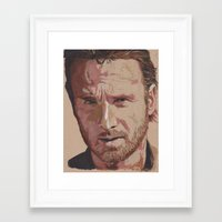 rick grimes Framed Art Prints featuring Rick Grimes by Art of Kyle Willis
