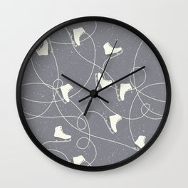 Winter Pattern Ice Skating Wall Clock