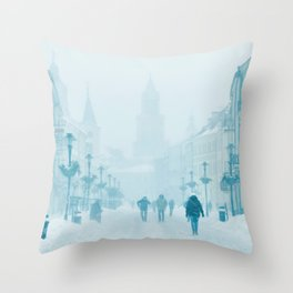 Foggy and snowy day Throw Pillow