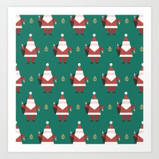 Day 10/25 Advent - Folding Santa Art Print