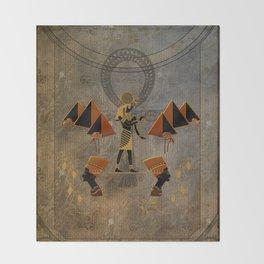 Anubis the egyptian god, pyramid Throw Blanket