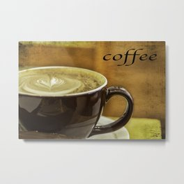 cappuccino coffee textured art Metal Print