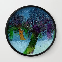 Nightfall snowing Wall Clock