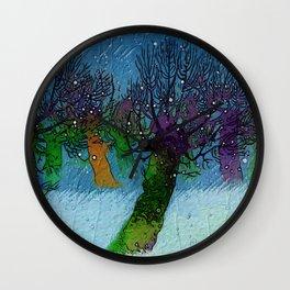 Nightfall snowing Wall Clock