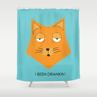 drunk Shower Curtains featuring Drunk Kitty by takeontheworld