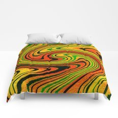 Psychedelic Summer Swirl Watercolor Painting Comforters
