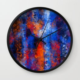 psychedelic geometric polygon shape pattern abstract in red orange blue Wall Clock