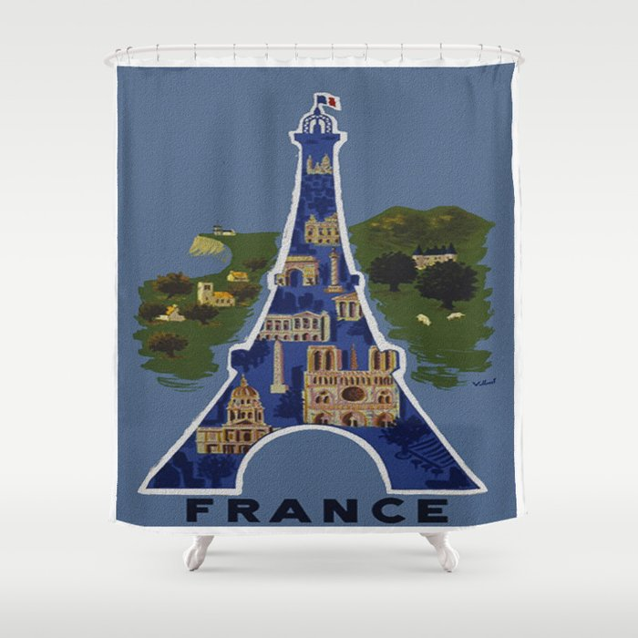 Vintage France Eiffel Tower Travel Poster Shower Curtain