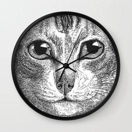 Black & White - Kitty Cat Close Up Wall Clock