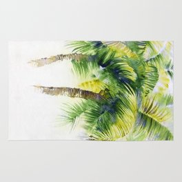 Watercolor painting with tropical palm trees, painted in India   Rug
