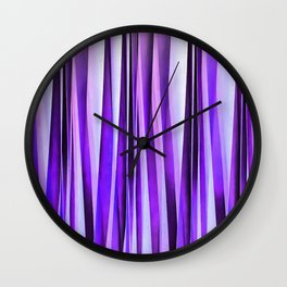 Luxurious Lilac, Purple and Silver Stripy Pattern Wall Clock