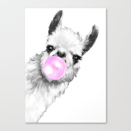 Bubble Gum Sneaky Llama Black and White Canvas Print